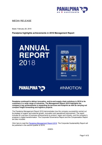 Panalpina highlights achievements in 2018 Management Report