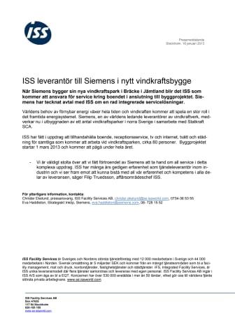 ISS leverantör till Siemens i nytt vindkraftsbygge