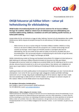 OKQ8 fokuserar på hållbar bilism – satsar på helhetslösning för elbilsladdning