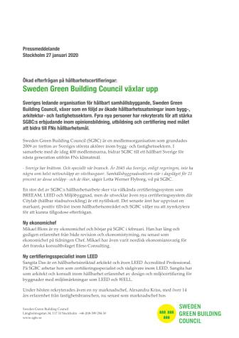 Ökad efterfrågan på hållbarhetscertifieringar: Sweden Green Building Council växlar upp