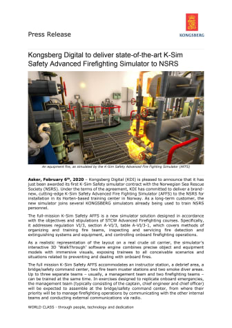 Kongsberg Digital to deliver state-of-the-art K-Sim Safety Advanced Firefighting Simulator to NSRS