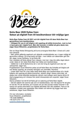 Nolia Beer 2020 flyttas fram: Satsar på digitalt fram till besöksmässor blir möjliga igen