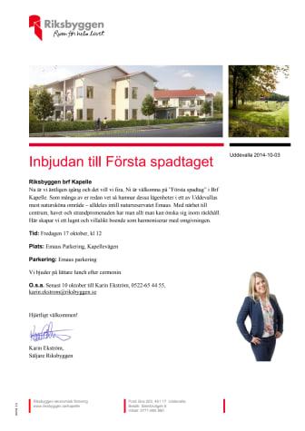 Inbjudan till första spadtaget för brf Kapelle i Uddevalla