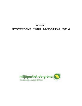 Miljöpartiets budget 2014