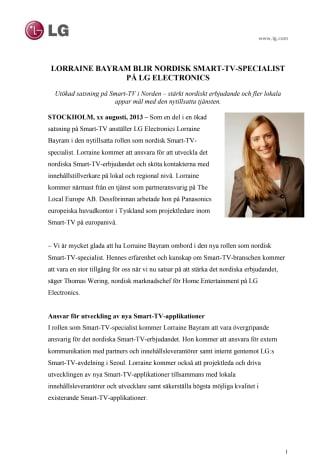 LORRAINE BAYRAM BLIR NORDISK SMART-TV-SPECIALIST PÅ LG ELECTRONICS