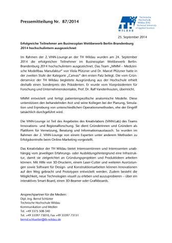 Erfolgreiche Teilnehmer am Businessplan Wettbewerb Berlin-Brandenburg hochschulintern ausgezeichnet