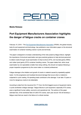 PEMA highlights the danger of fatigue cracks on container cranes