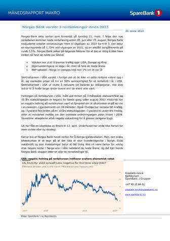 Makrorapport mars 2019: Norges Bank varsler 3 rentehevinger mens rentekurven inverteres i USA