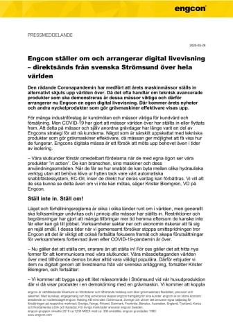 Engcon ställer om och arrangerar digital livevisning  – direktsänds från svenska Strömsund över hela världen