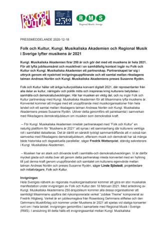 Pressmeddelande_ Folk och Kultur, Kungl. Musikaliska Akademien och Regional Musik i Sverige lyfter musikens år 2021_181220 (1).pdf