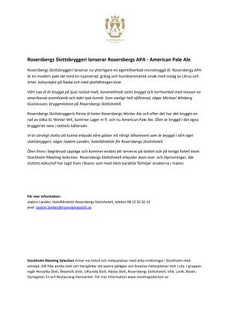 Rosersbergs Slottsbryggeri lanserar Rosersbergs APA - American Pale Ale