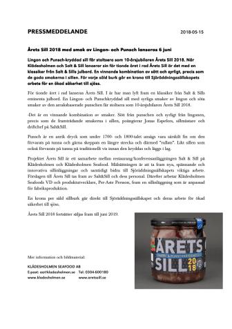 Årets Sill 2018 med smak av Lingon och Punsch lanseras 6 juni