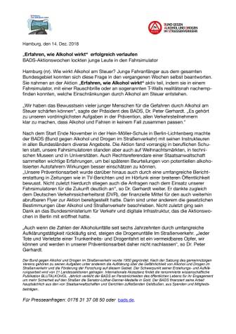 """""""Alkohol-Interlock-Programm als Modellversuch ein richtiger Weg"""""""