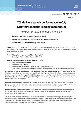 TCS med gode resultater i Q3