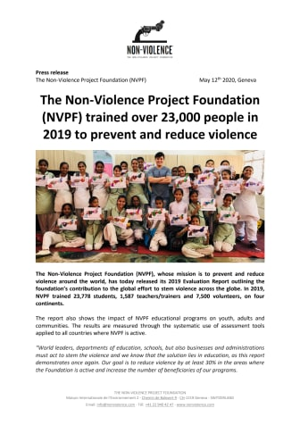 The Non-Violence Project Foundation (NVPF) trained over 23,000 people in 2019 to prevent and reduce violence