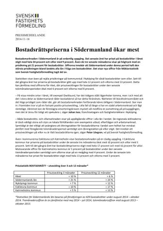 Bostadsrättspriserna i Södermanland ökar mest