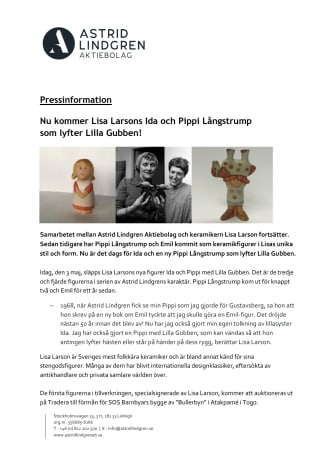 Nu kommer Lisa Larsons Ida och Pippi Långstrump  som lyfter Lilla Gubben