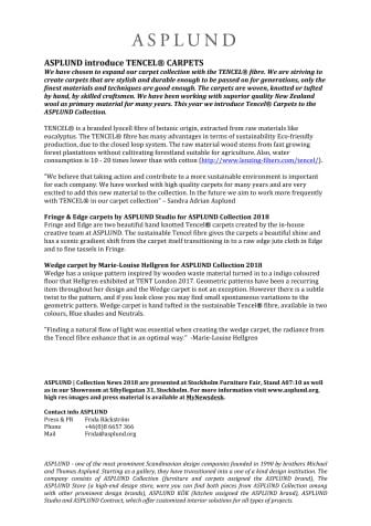 ASPLUND introduce TENCEL® CARPETS