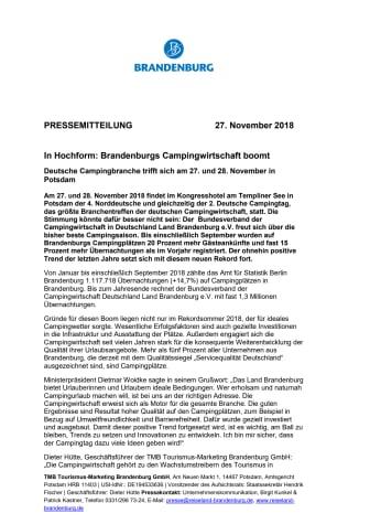 In Hochform: Brandenburgs Campingwirtschaft boomt