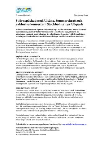 Stjärnspäckat med Allsång, Sommarskratt och exklusiva konserter i Stockholms nya folkpark