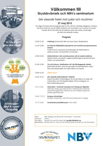 Det växande hatet mot judar och muslimer - seminarium 27 maj om bland annat antisemitism, islamofobi, Europas utmaningar  och tro och tolerans