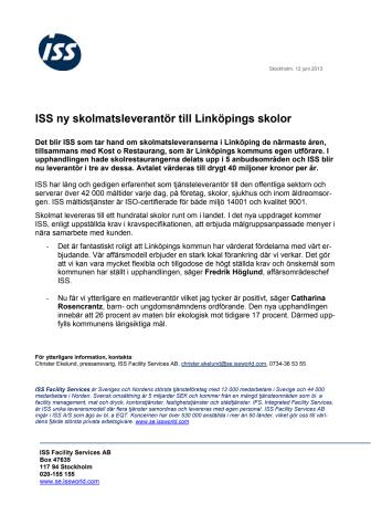 ISS ny skolmatsleverantör till Linköpings skolor