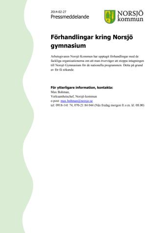 Förhandlingar kring Norsjö gymnasium