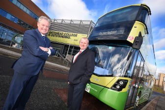Kevin Carr from Go North East (left) with Ivan Jepson from Gateshead College