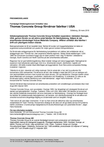 Thomas Concrete Group förvärvar fabriker i USA