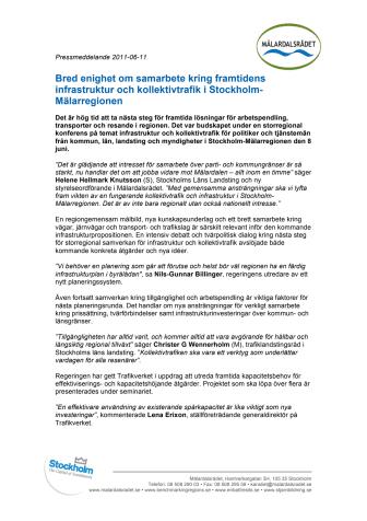 Bred enighet om samarbete kring framtidens infrastruktur och kollektivtrafik i Stockholm-Mälarregionen
