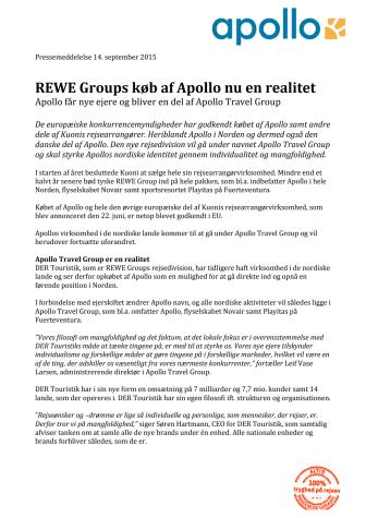 REWE Groups køb af Apollo nu en realitet