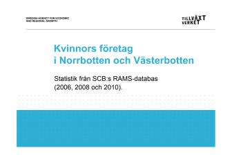 Antal företag som drivs av män resp kvinnor 2006-2010 Norrbotten Västerbotten