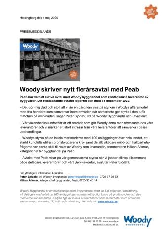 Woody skriver nytt flerårsavtal med Peab