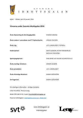 Vinnarna på Svenska Idrottsgalan 2016