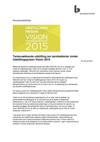 Tankevækkende udstilling om tarmbakterier vinder Udstillingsprisen Vision 2015