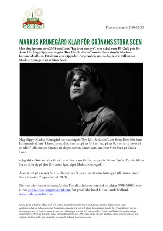 Markus Krunegård klar för Grönans Stora Scen