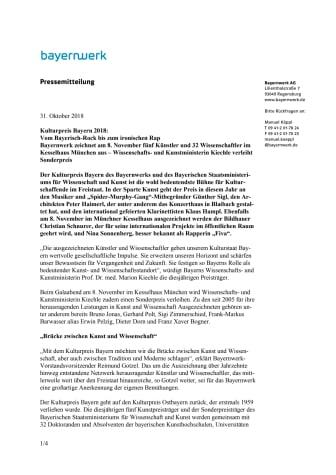 Kulturpreis Bayern 2018: Vom Bayerisch-Rock bis zum ironischen Rap