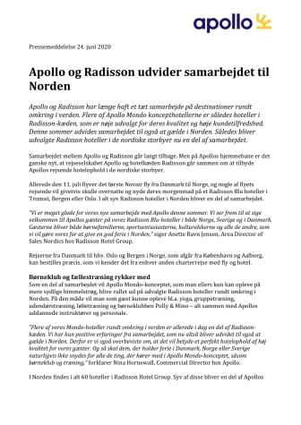 Apollo og Radisson udvider samarbejdet til Norden