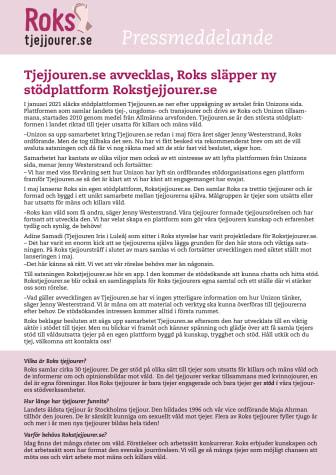 Tjejjouren.se avvecklas. Roks släpper ny stödplattform: Rokstjejjourer.se