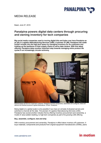 Panalpina powers digital data centers through procuring and owning inventory for tech companies
