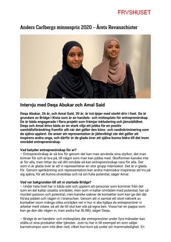 Intervju med årets revanschister – Deqa Abukar och Amal Said