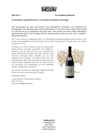 Prisbelönt Sydafrikansk vinmakare kommer till Sverige