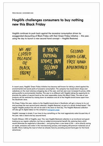 Haglöfs challenges consumers to buy nothing new this Black Friday