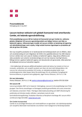 Laccure tecknar exklusivt och globalt licensavtal med amerikanska Combe, ett ledande egenvårdsföretag