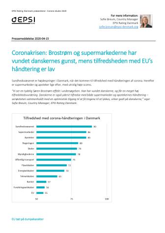 Danskerne er glade for Sundhedsvæsenet, supermarkederne og apotekernes corona-håndtering