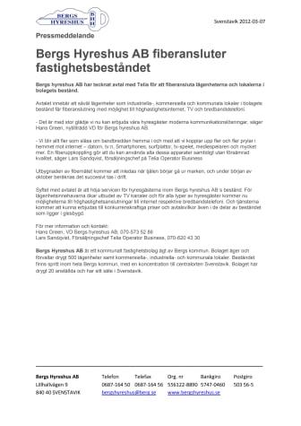 Bergs Hyreshus AB fiberansluter fastighetsbeståndet