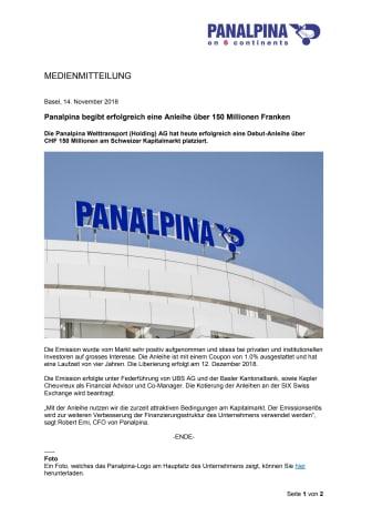 Panalpina begibt erfolgreich eine Anleihe über 150 Millionen Franken