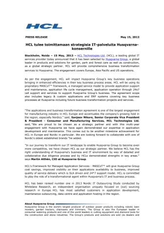 HCL tulee toimittamaan strategisia IT-palveluita Husqvarna-konsernille