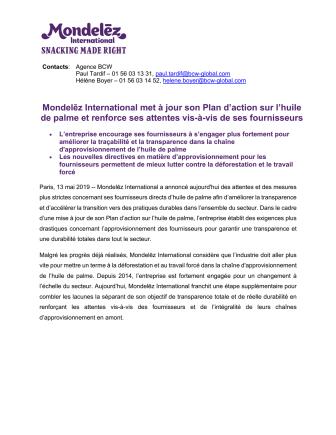 Mondelēz International met à jour son Plan d'action sur l'huile  de palme et renforce ses attentes vis-à-vis de ses fournisseurs