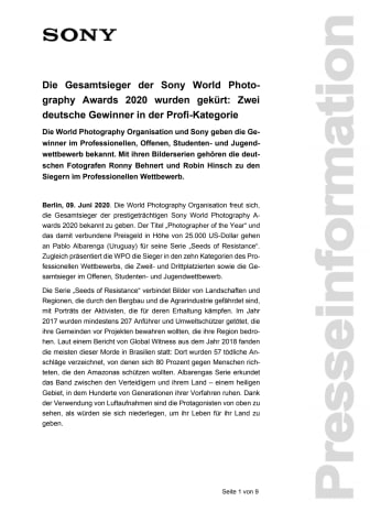 Die Gesamtsieger der Sony World Photography Awards 2020 wurden gekürt: Zwei deutsche Gewinner in der Profi-Kategorie